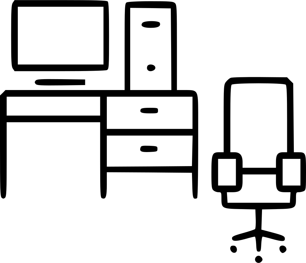 Computer table chair office. Furniture clipart living room