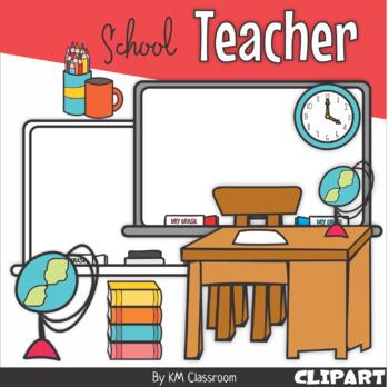 Clipart desk teacher stuff. School