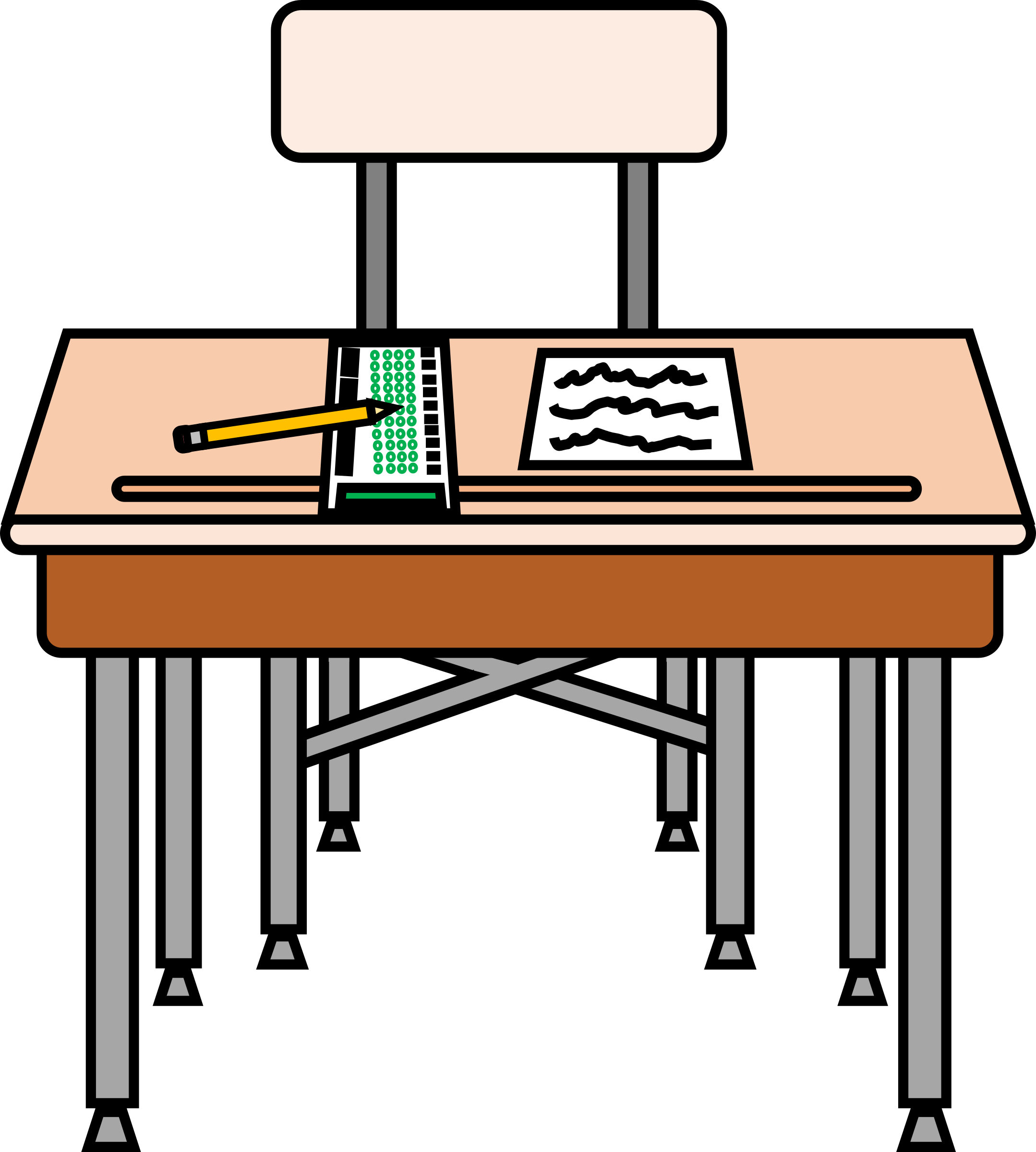 Desk clipart testing. All ready for a