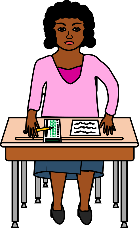 Taking a standardized test. Desk clipart testing