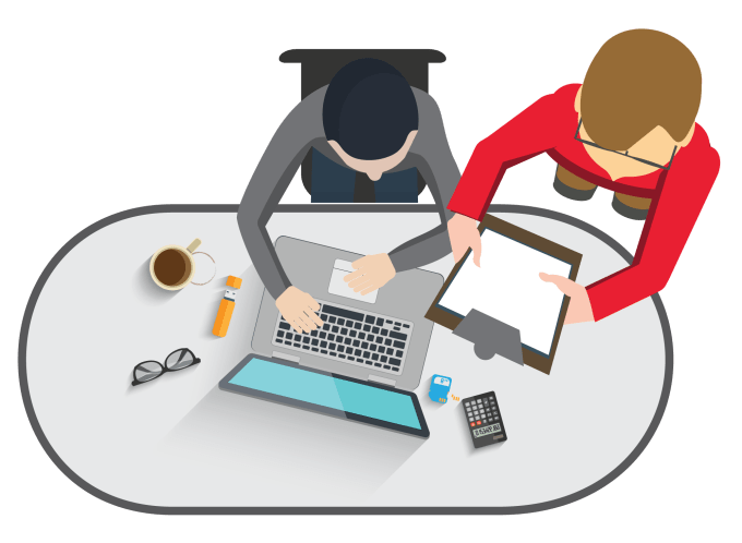 Conduct a usability test. Clipart desk testing