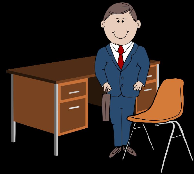 Manager clipart avatar. Teacher between chair and