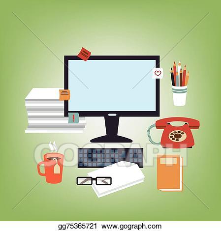 Eps illustration secretary gg. Clipart desk vector