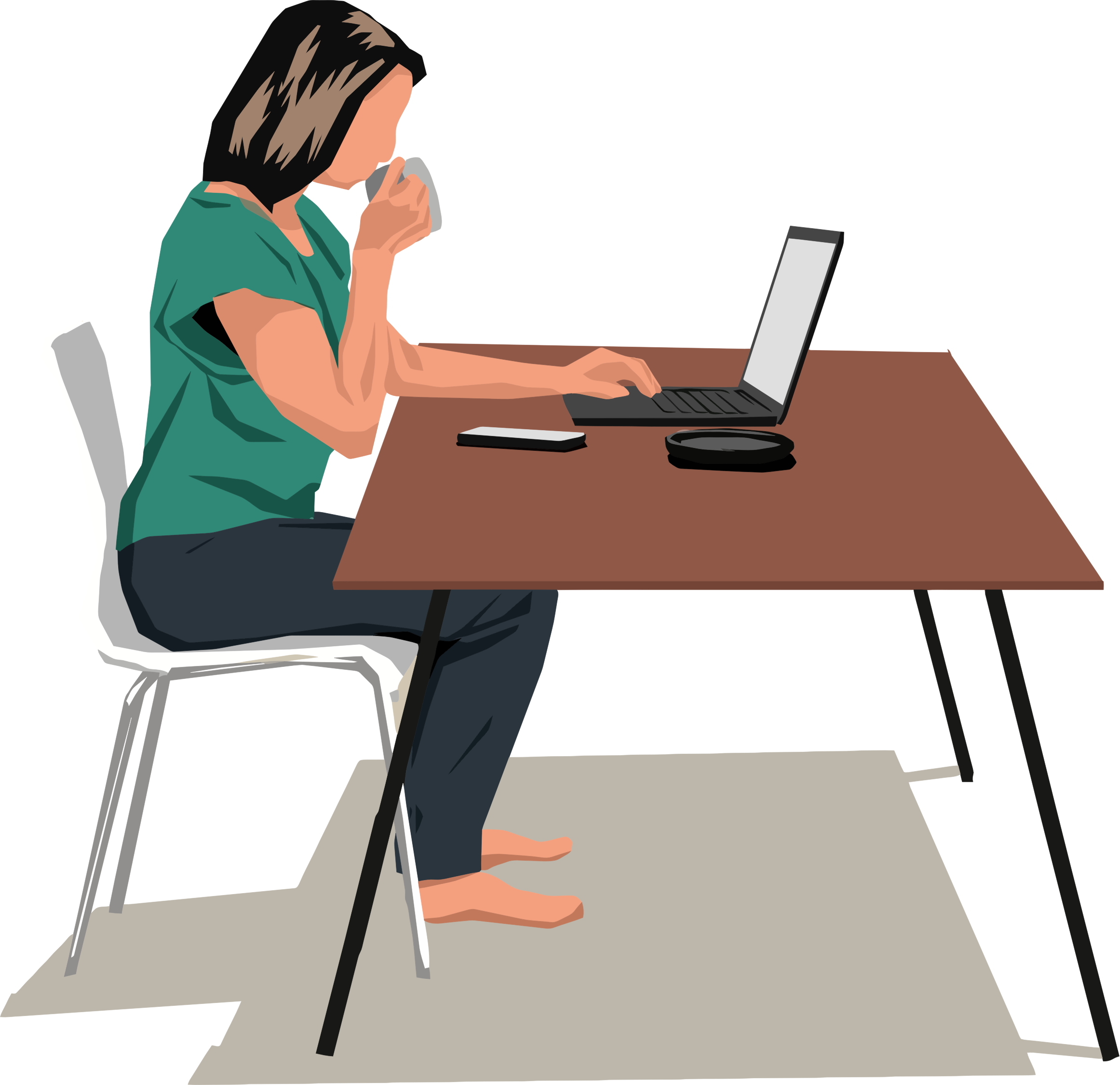 Woman sitting at table. Desk clipart person
