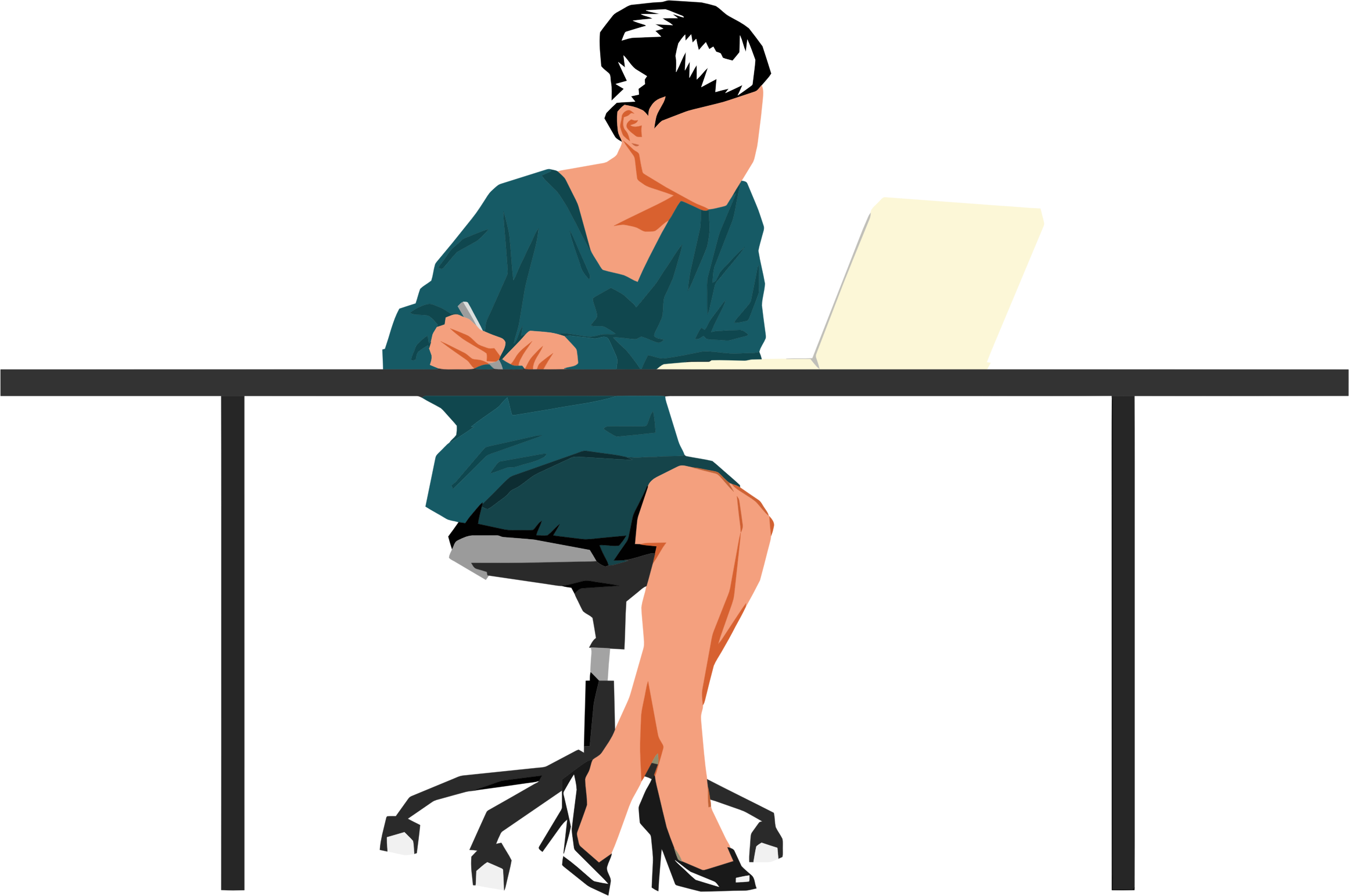 Woman sitting at big. Desk clipart person