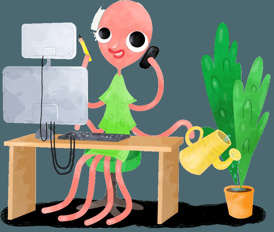 Desk work alone