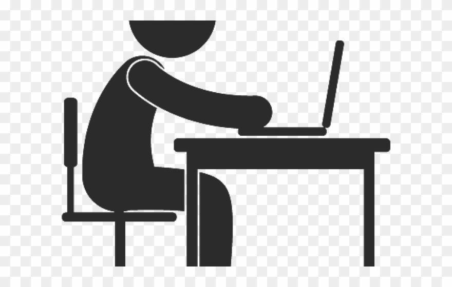 Working clipart desk. Work hard icon png
