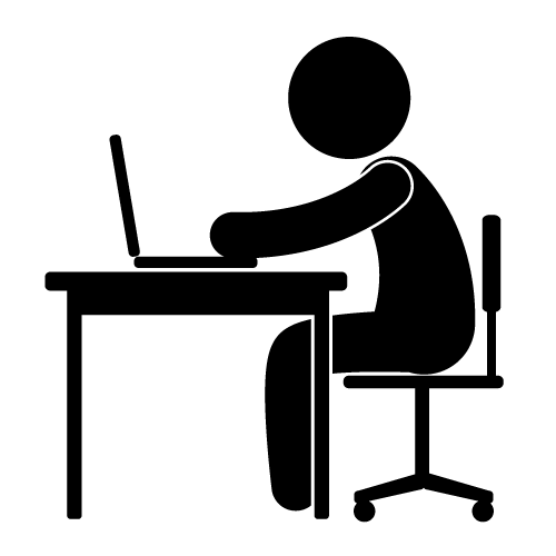 Working clipart desk. Person at icon free