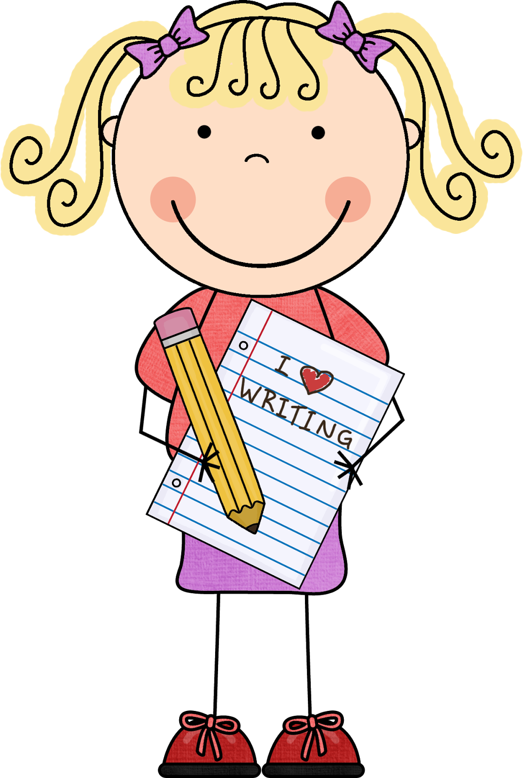 Creative clipart journal. Image of girl writing
