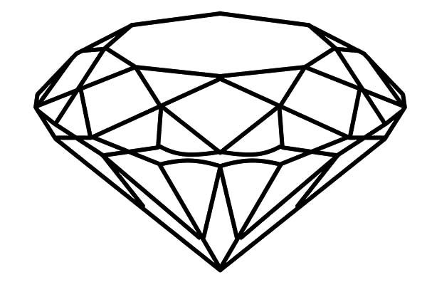 Diamond clipart coloring page. Shape round cut pages
