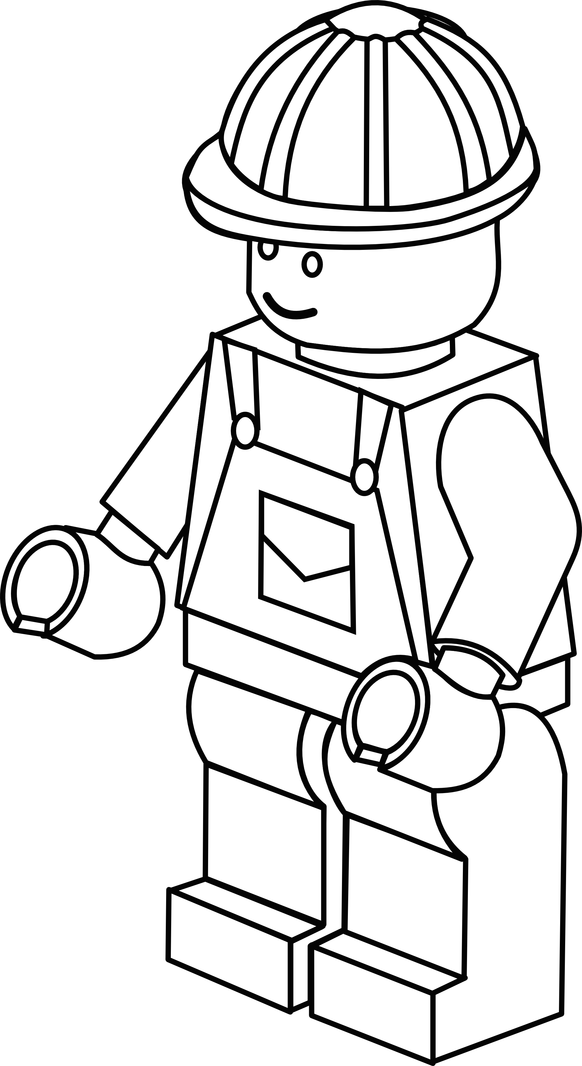 More complex lego figure. Fireman clipart colouring page