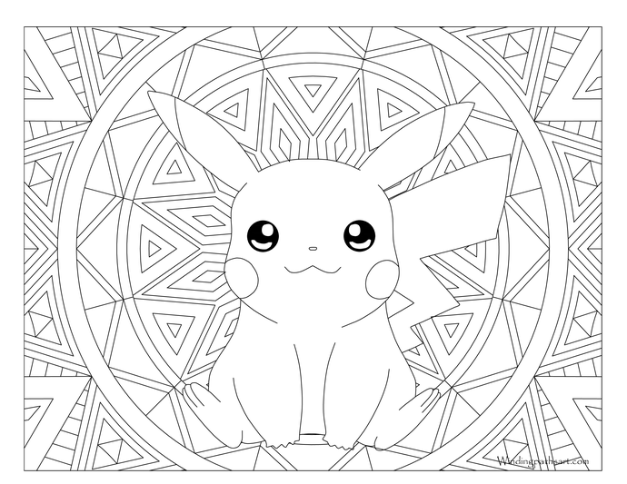 Adult pokemon coloring pikachu. Heaven clipart colouring page