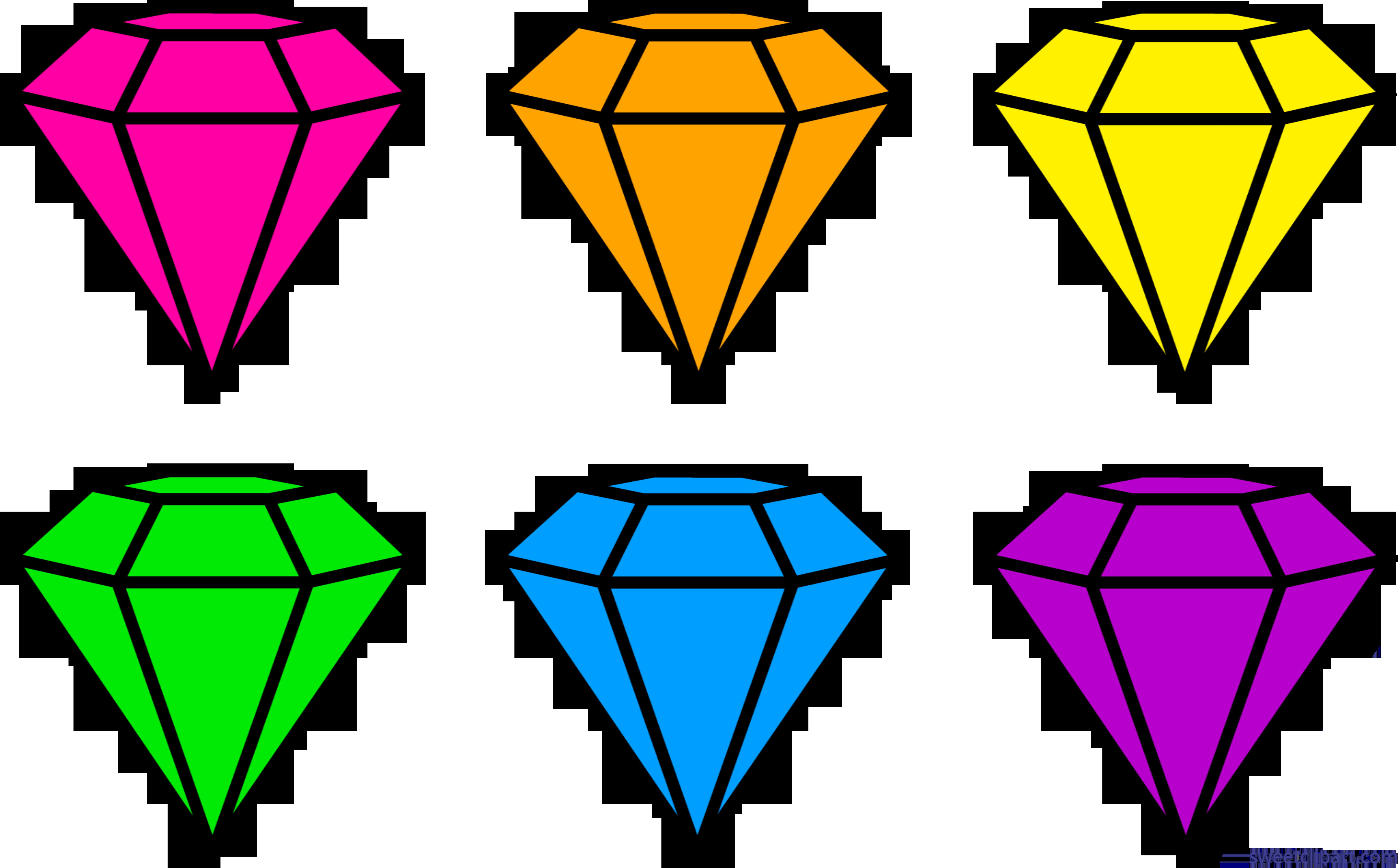 Diamonds clipart coloured. Diamond gems neon clip
