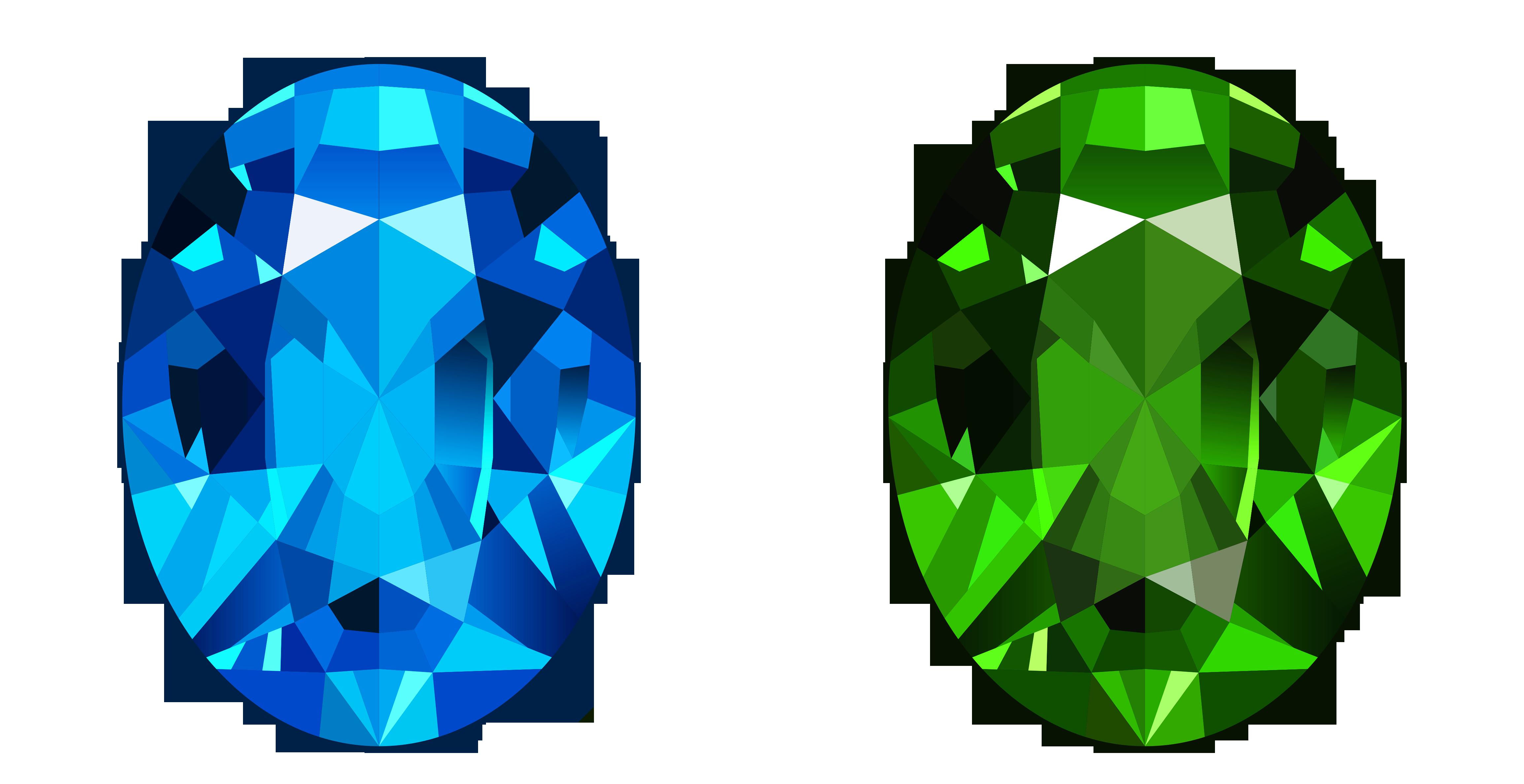 Diamond clipart cartoon. Transparent blue and green