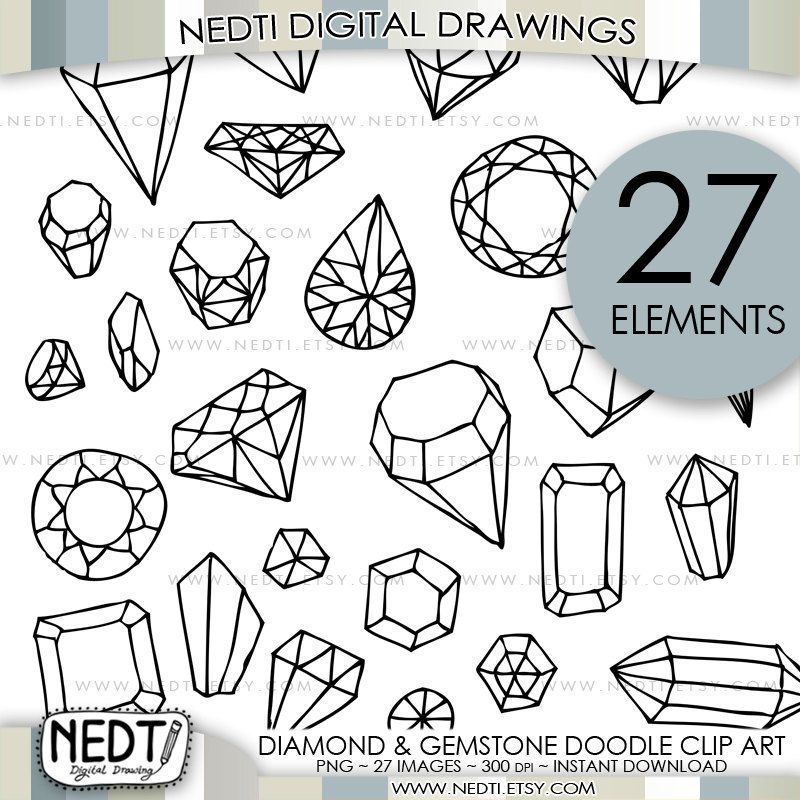 Clipart diamond doodle. And gemstone clip art