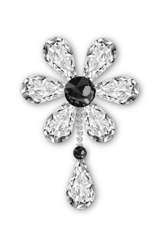 Clipart diamond flower. Black and white jewelry