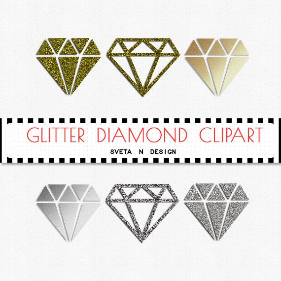 Diamonds digital silver gold. Glitter clipart diamond