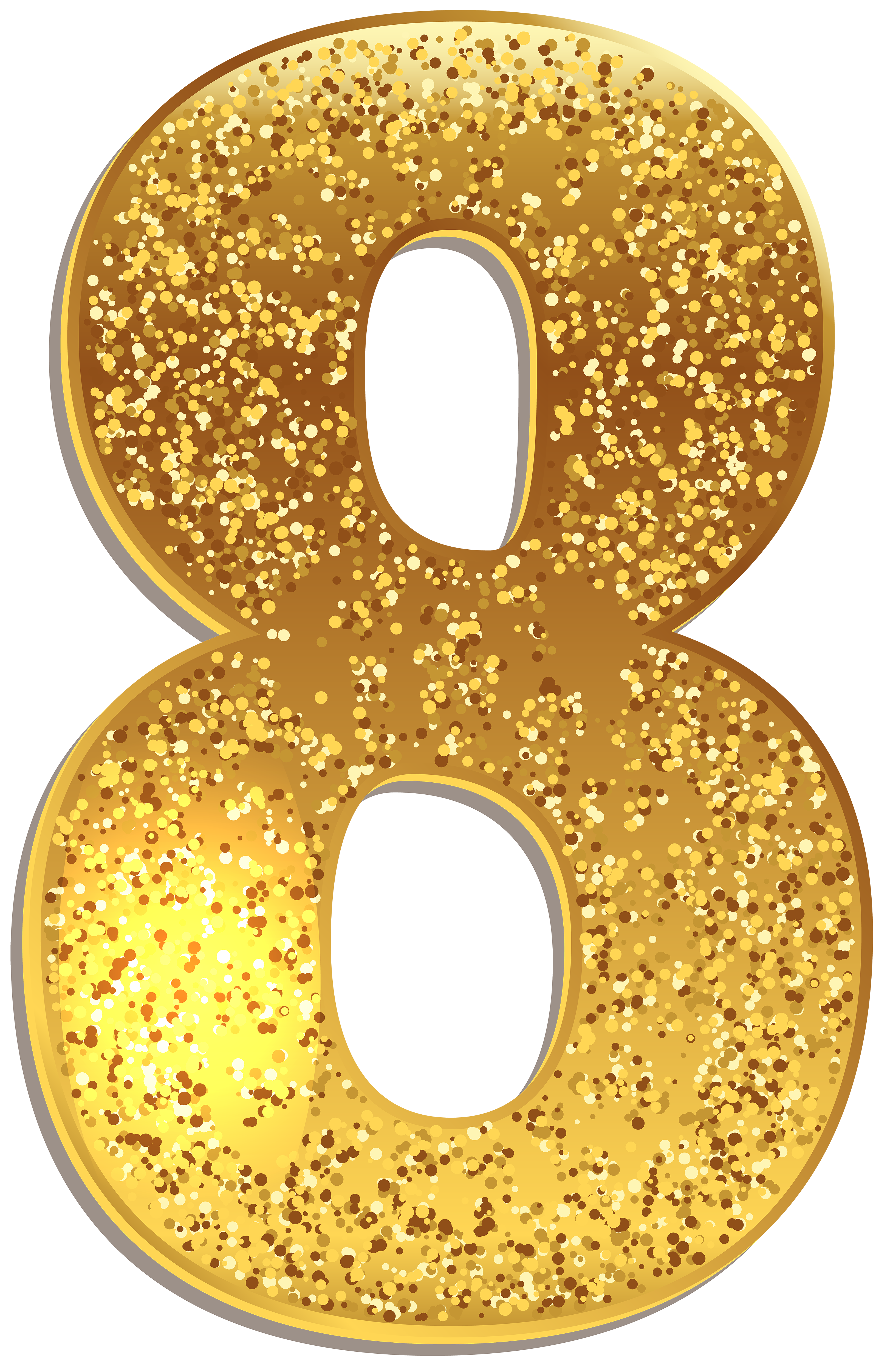 Diamonds clipart gold glitter. Number eight shining png