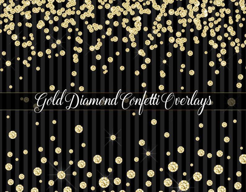 Confetti overlays clip art. Clipart diamond gold glitter