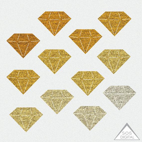 Gold glitter diamond gemstone. Gem clipart bling