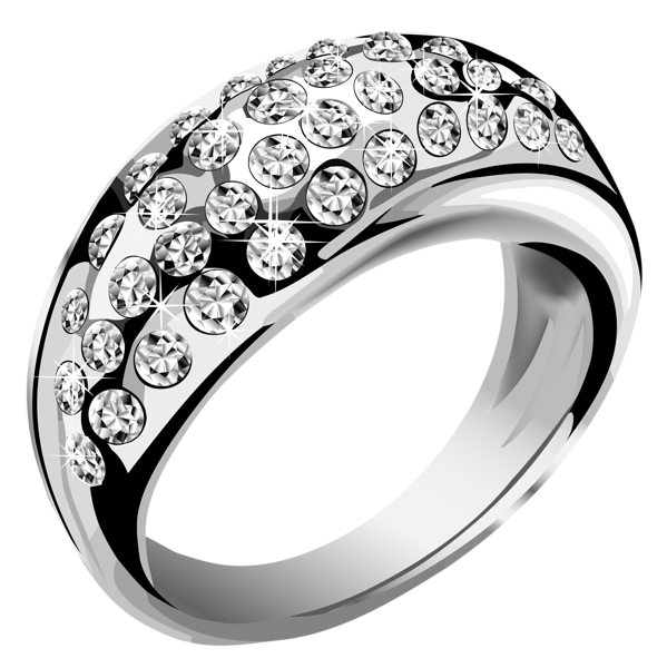 Silver with white diamonds. Clipart stars ring