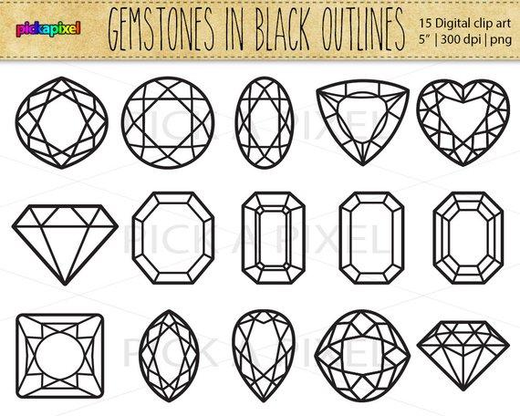 Gemstones diamonds in black. Gem clipart diamond outline