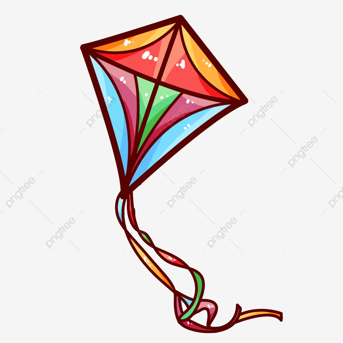 Square illustration hand drawn. Clipart kite diamond
