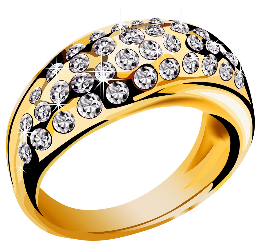 Gold ring with diamonds. Clipart diamond medal