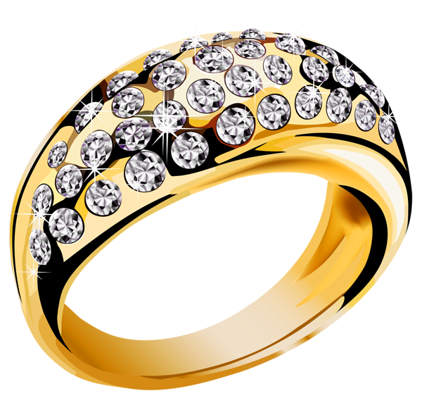Gold with white diamonds. R clipart ring