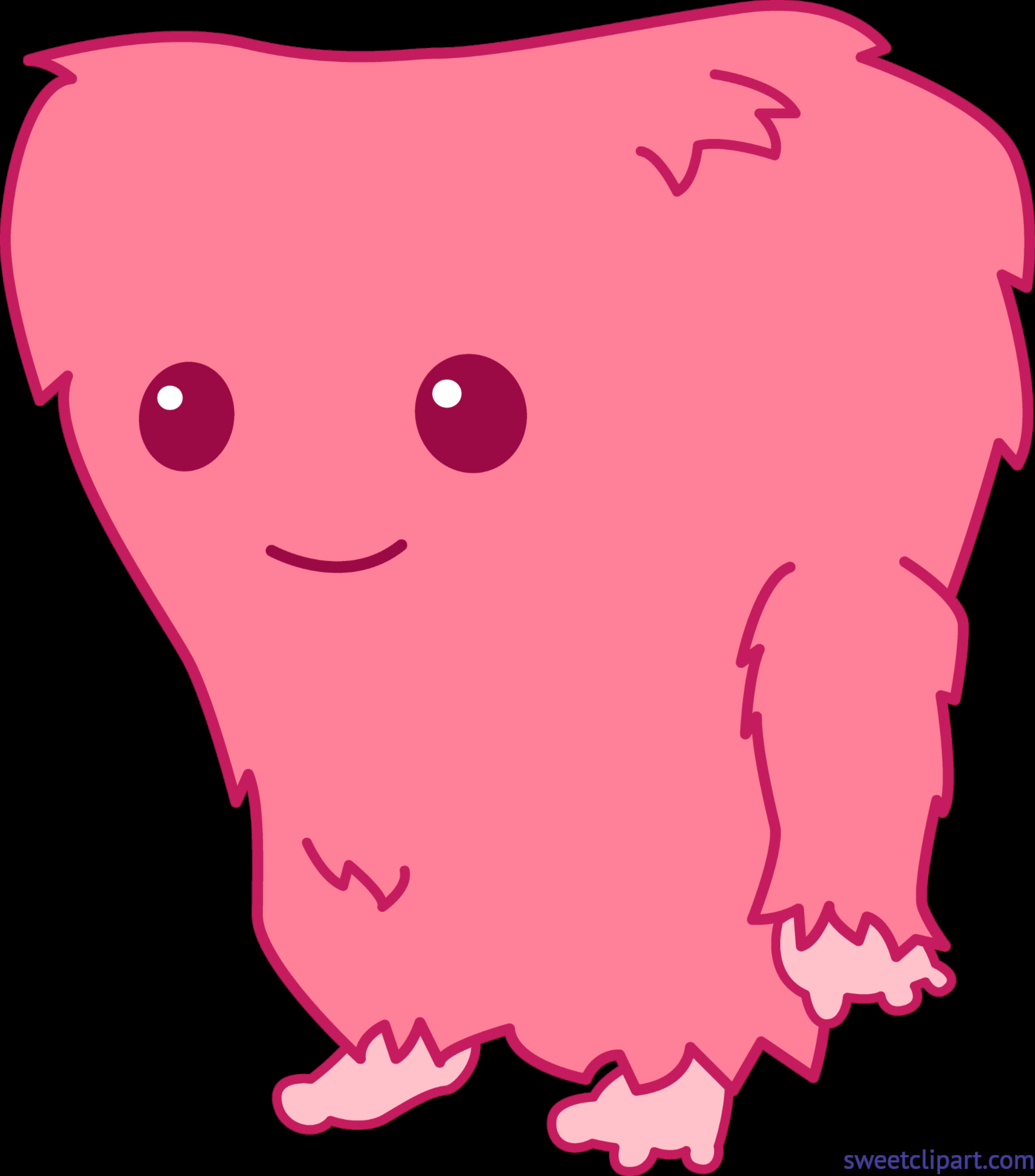 Clipart diamond pink. Monster cute clip art