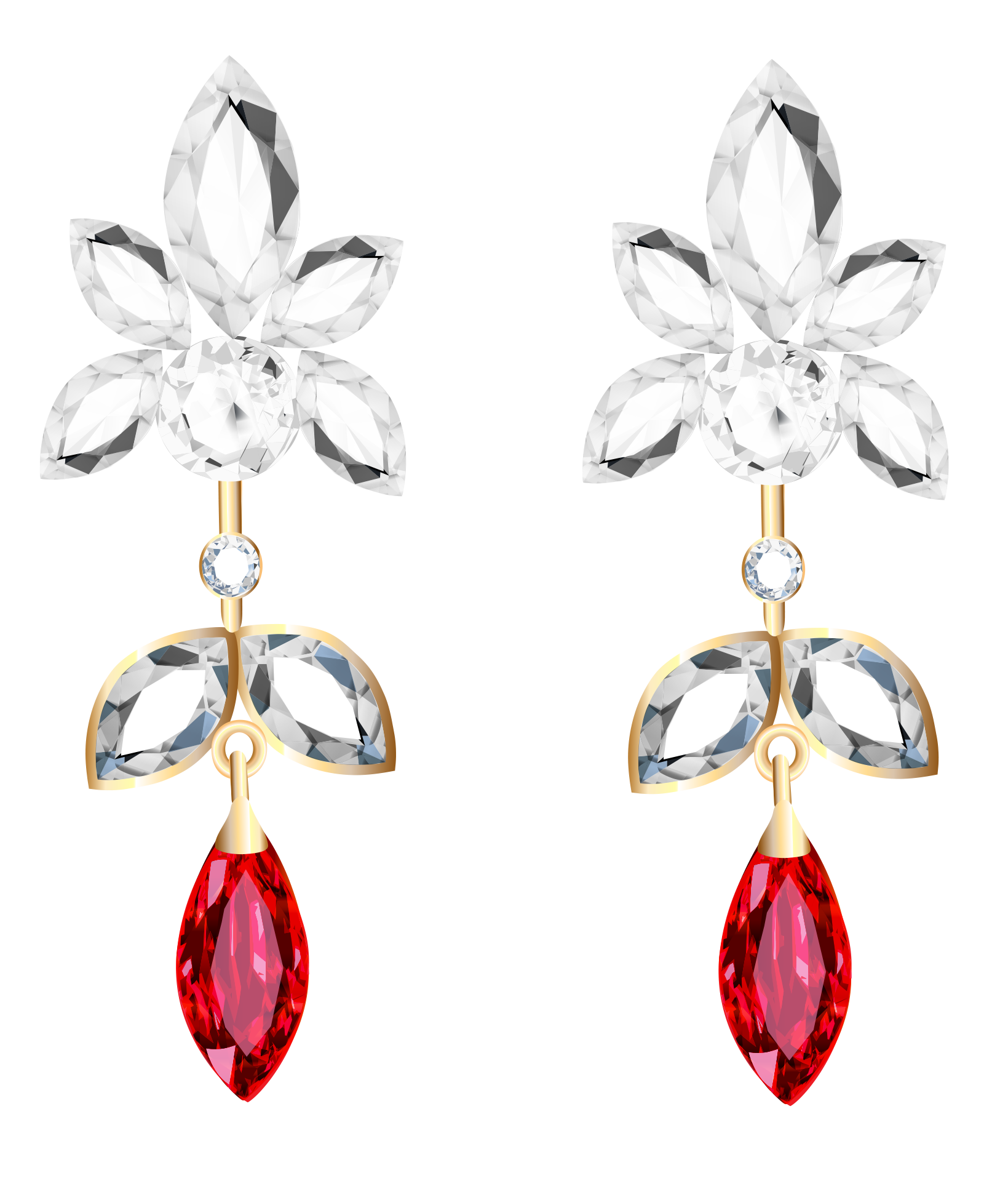 Clipart diamond platinum. Transparent and ruby earrings