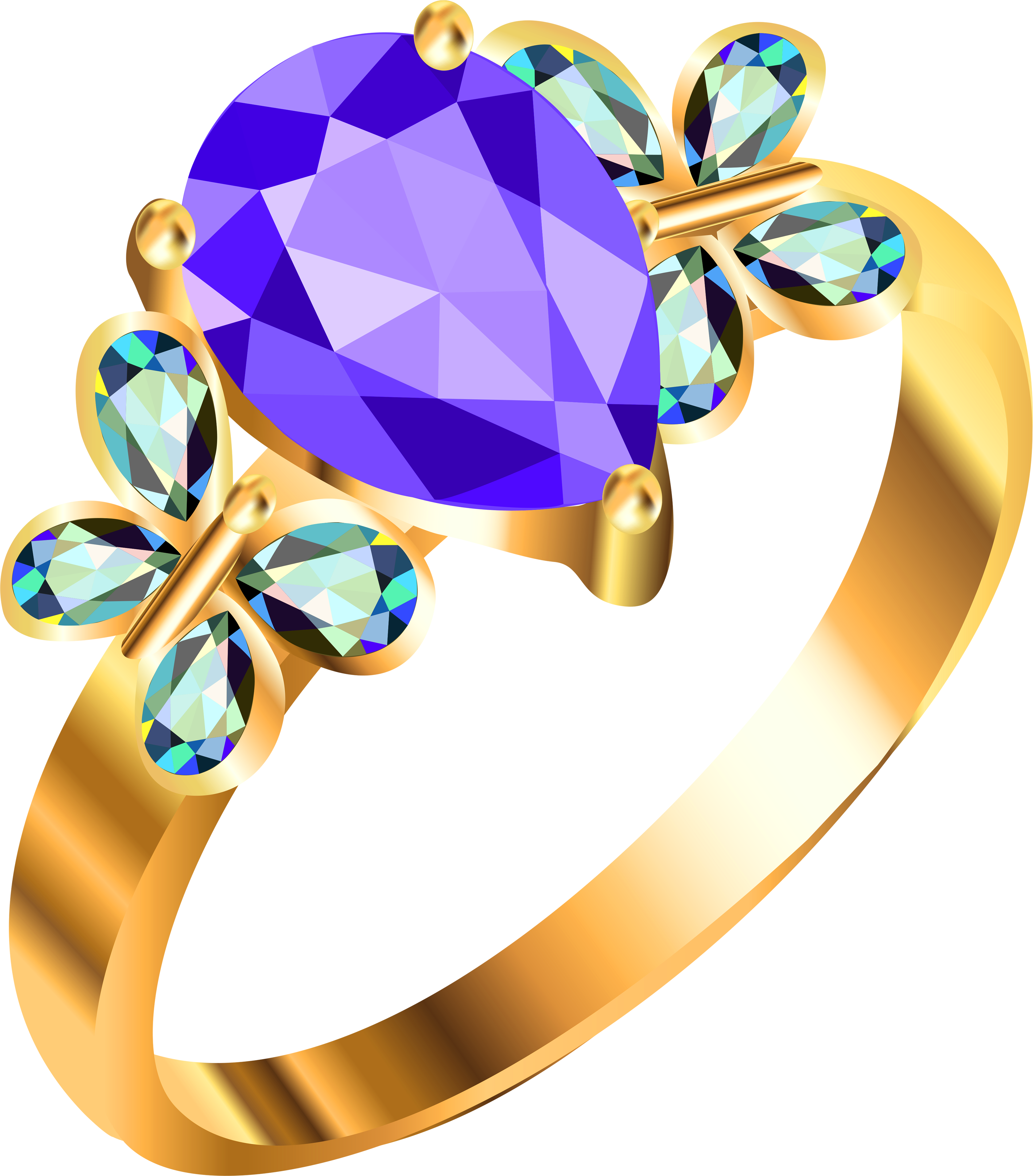 Gold ring with blue. Diamonds clipart purple