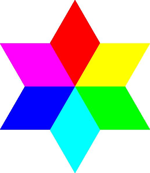 Clipart diamond rainbow.  color hexagram clip