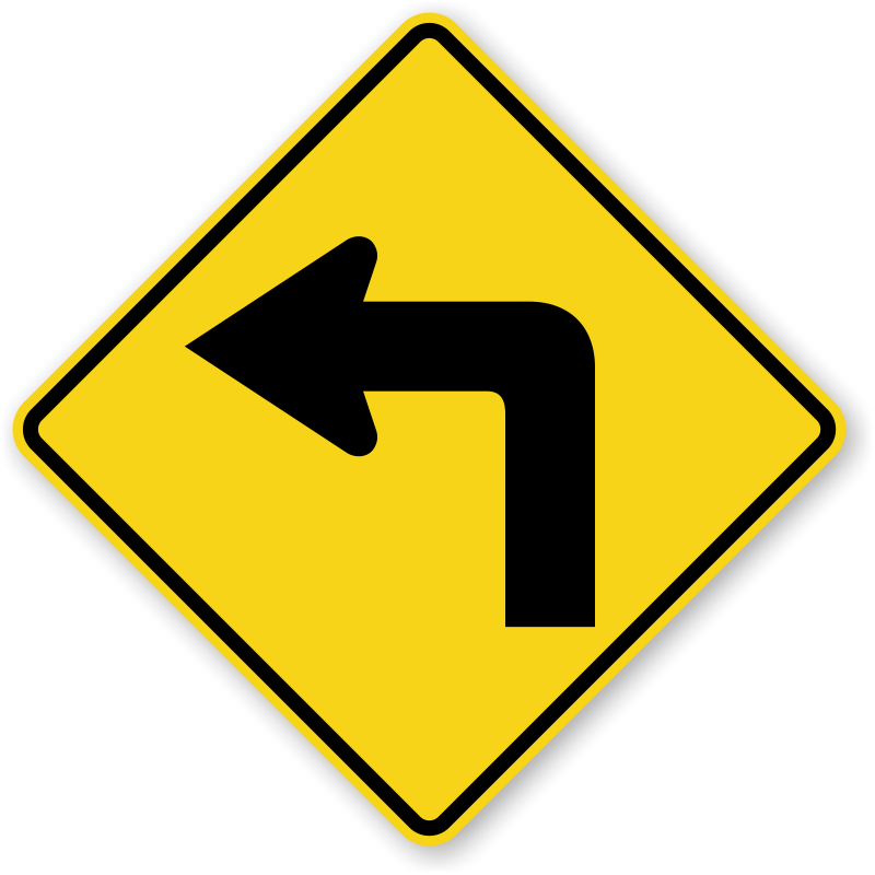 Left turn with symbol. Clipart road road sign