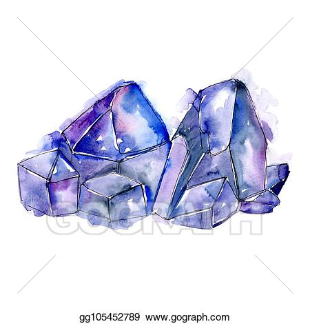 Stock illustration blue jewelry. Clipart diamond rock