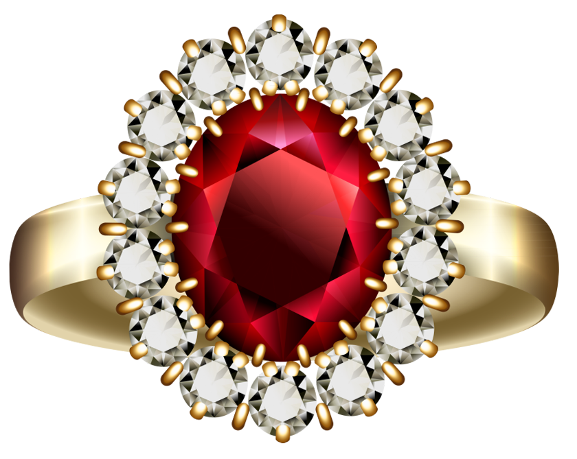 Transparent diamond and ring. Diamonds clipart ruby