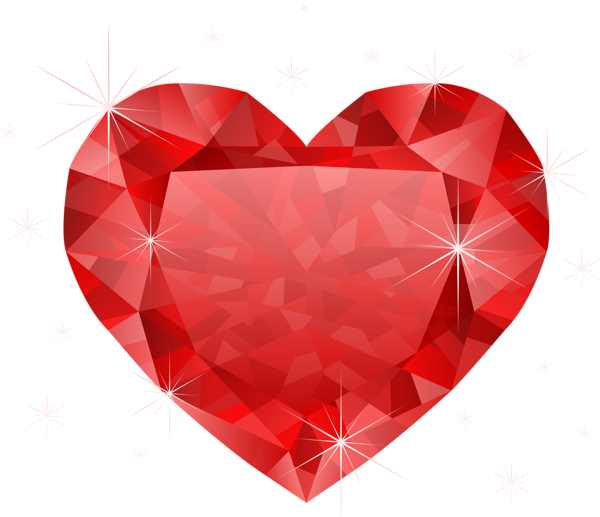Large transparent red heart. Treasure clipart pile diamond