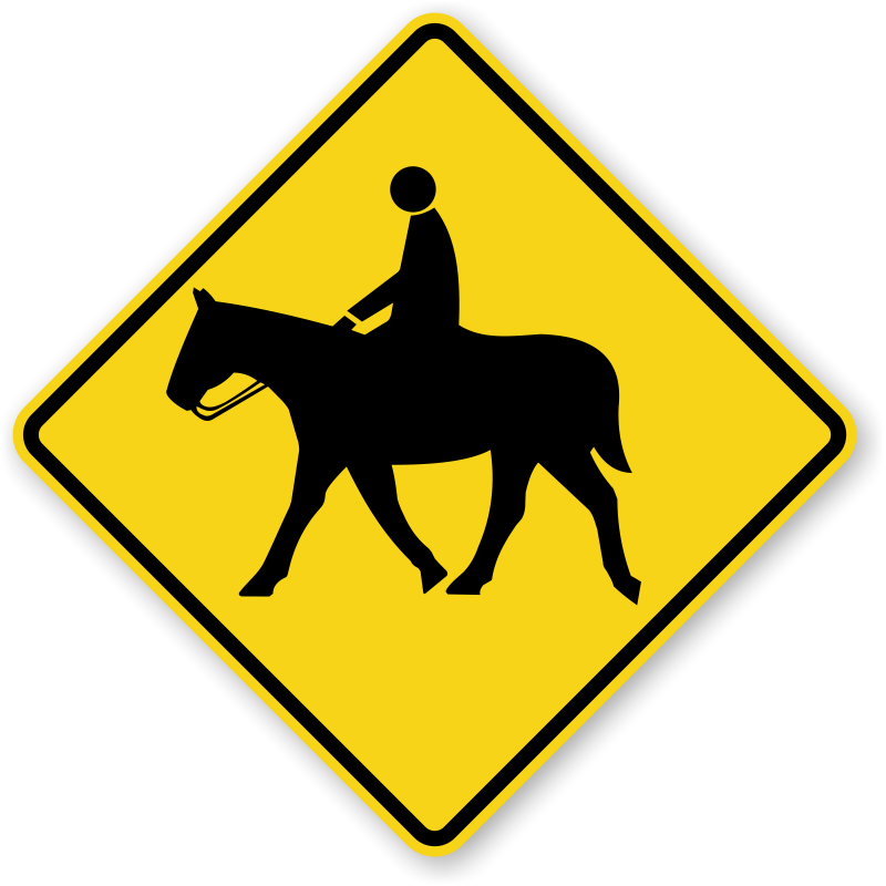 Horse crossing signs zoom. Clipart diamond sign