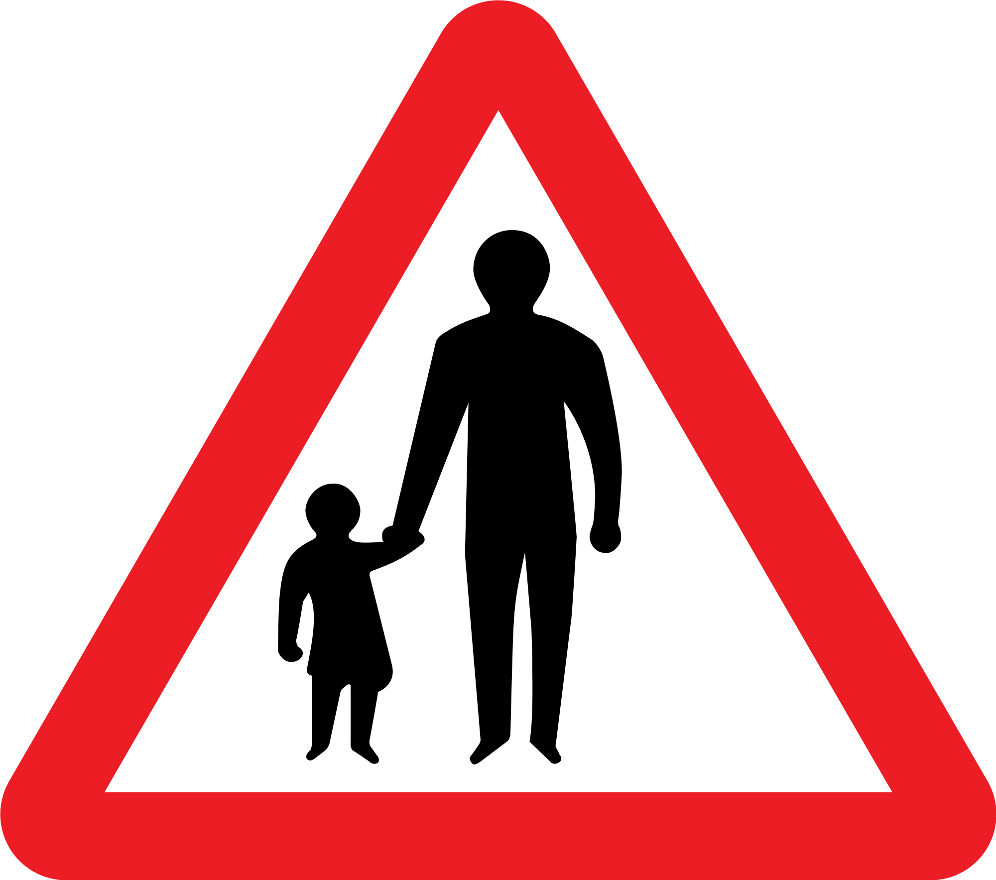 Road sign silhouette at. Clipart walking pedestrian