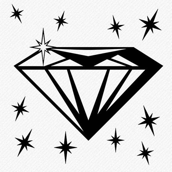 Svg silhouette cricut . Diamond clipart stencil