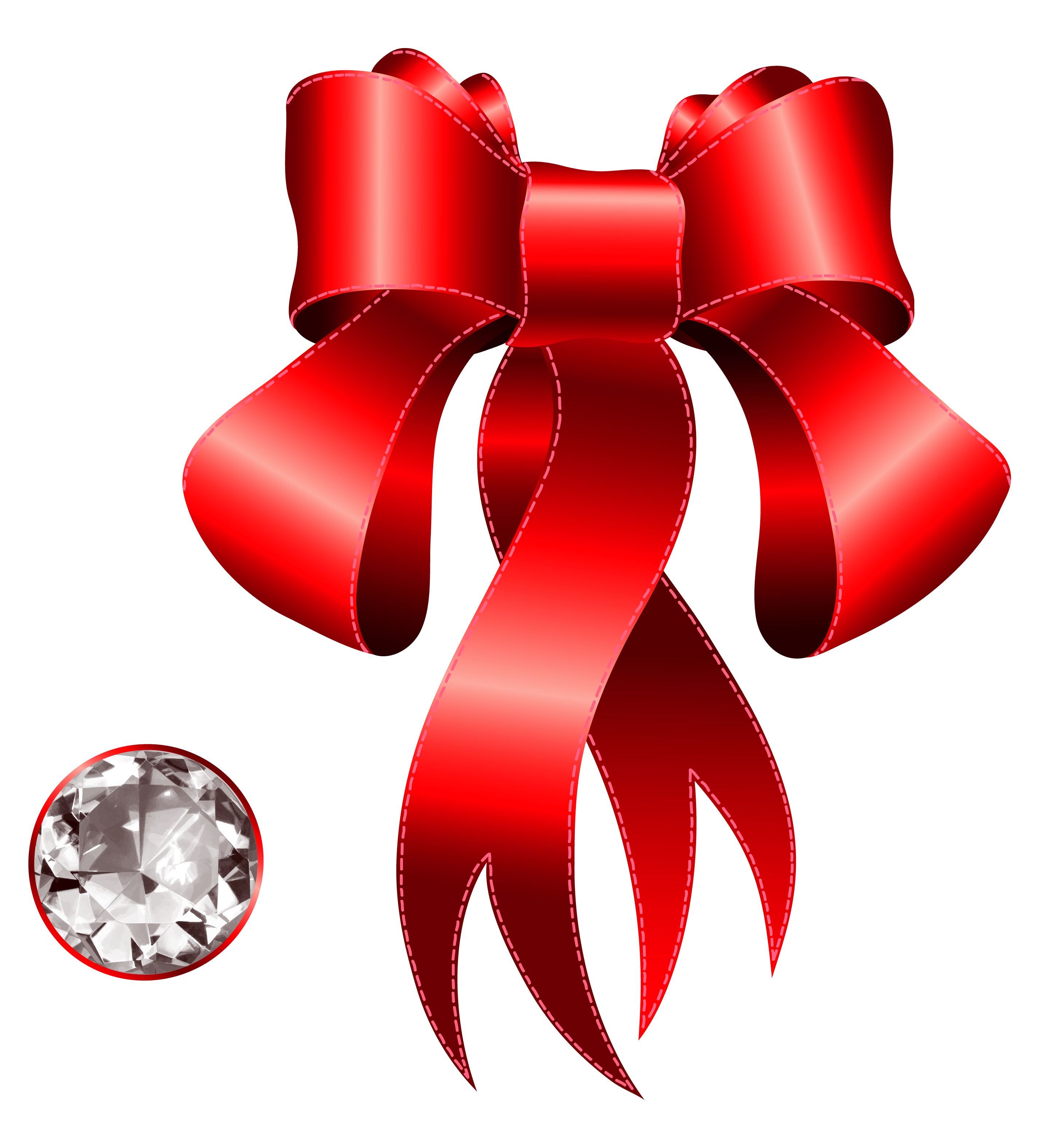 Red decorative bow with. Clipart diamond symbol