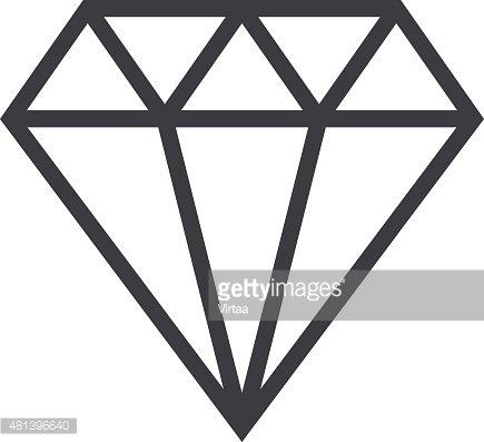 Clipart diamond symbol. Outline icon modern minimal