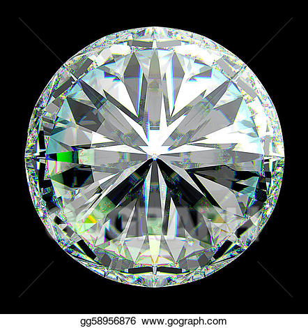 Drawing view of round. Diamond clipart top