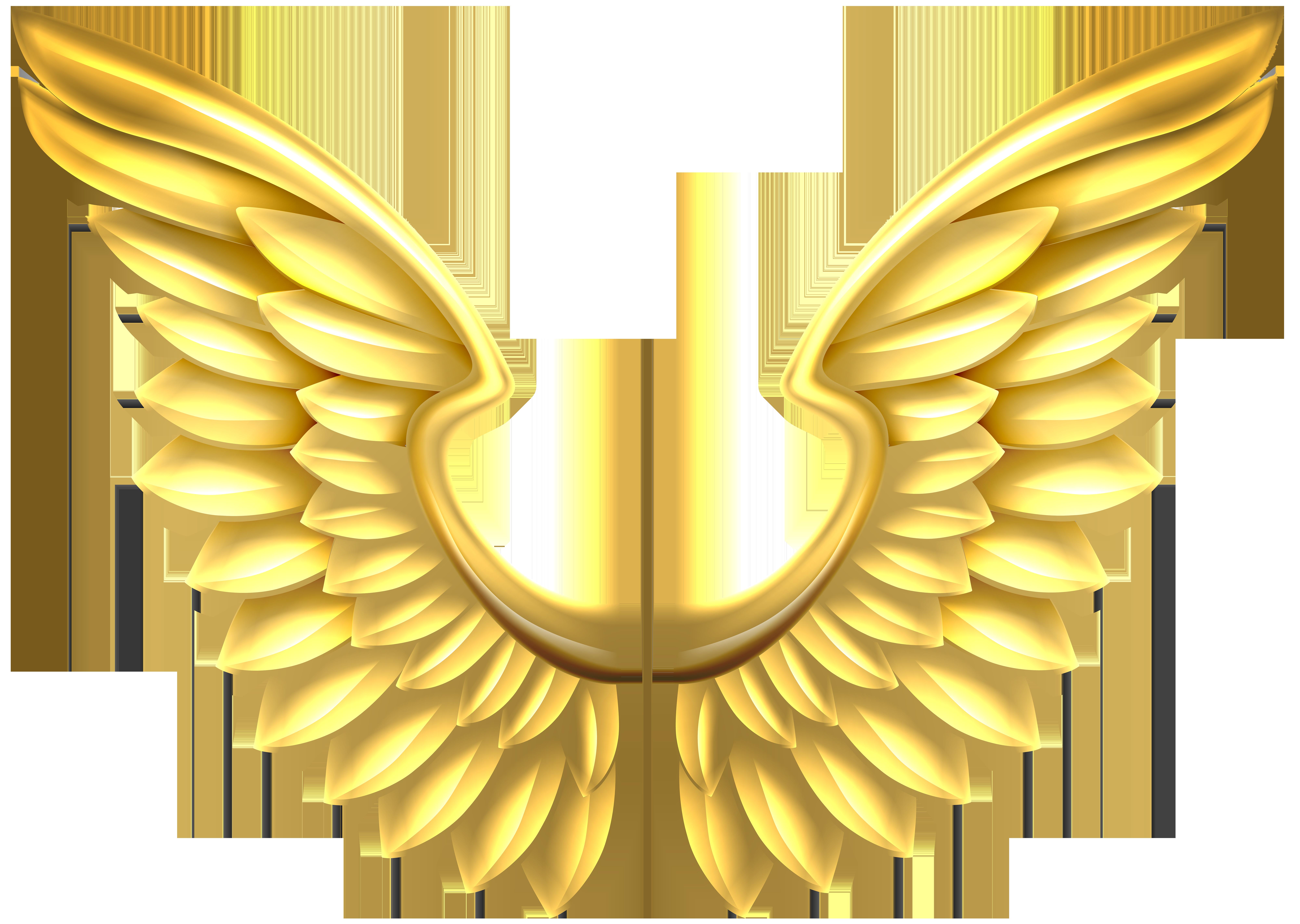 Hawk clipart wings. Gold transparent png clip