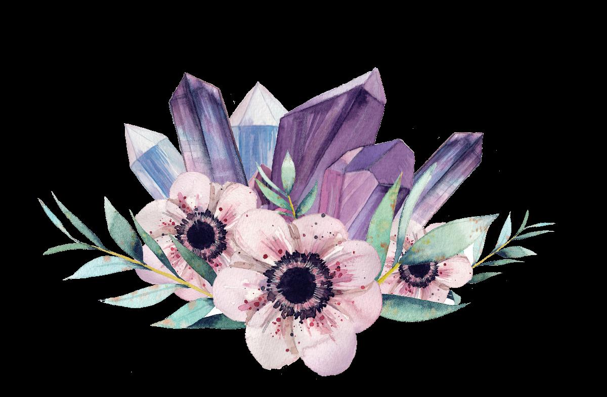 Crystal clipart amethyst crystal. Gemstone flower watercolor painting