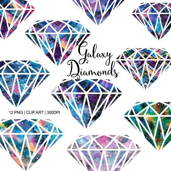 Diamond clipart rock. Galaxy diamonds watercolor crystal