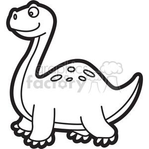 Dinosaur clipart outline. Brachiosaurus cartoon in black