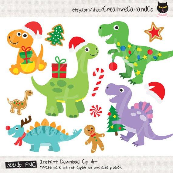 Dinosaur clipart christmas. Clip art with santa