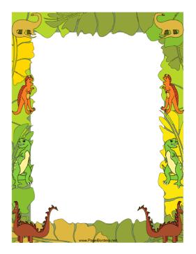 Clipart dinosaur frame. This border features an