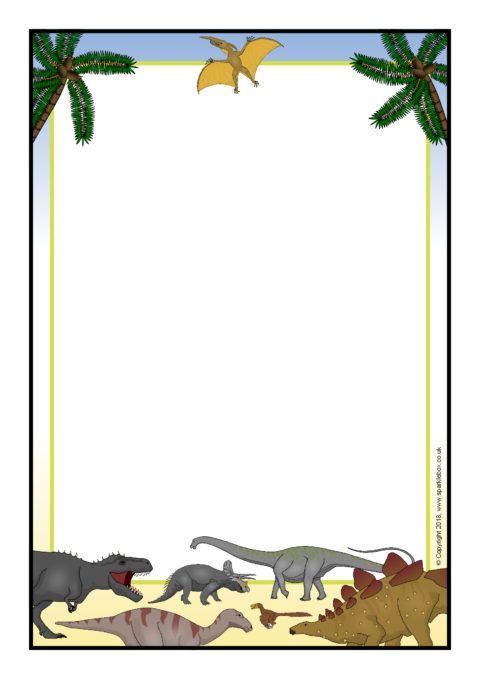 Clipart dinosaur frame. A page borders sb